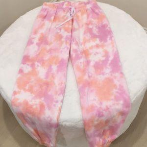 Pink, orange, white Tie-Dyed sweatpants